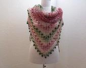 hand crocheted mohair shawl / pink green batik shawl - Bestknttng