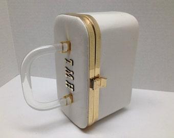 60s Lucite Spring White Box Purse