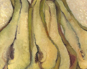 Original Abstract Still Life Painting - Pears - Contemporary Art - Oil on stretched canvas - Home Decor - 23.6x19.7 in (60x50 cm)