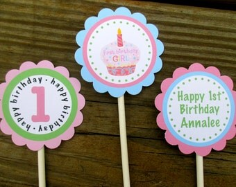 First Birthday Girl Pink cupcake and Green Polka Dots Cupcake Toppers, Pink and Green, 1st Birthday