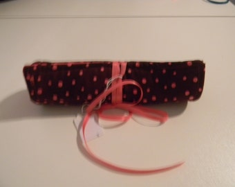 Makeup Brush Roll - Brown and Pink Polka Dot