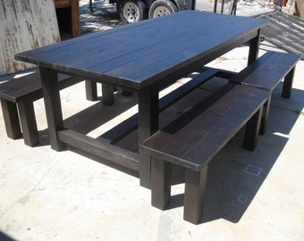 DINING TABLE and four benches made from reclaimed wood USA made