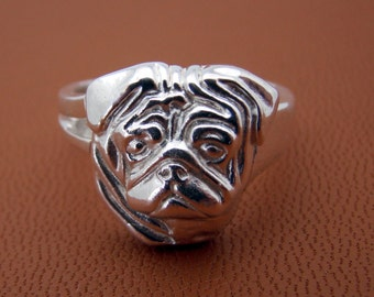 Small Sterling Silver Pug Head Study Ring