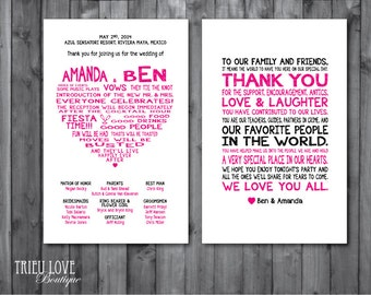Double-sided Sweetheart Wedding Ceremony Program - Digital Printable