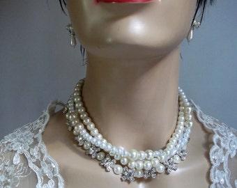 Wedding Pearl Necklace, Glass Pearls, Rhinestone Brides, Bridal Necklace, Ivory, White Pearls,  Handmade, Wedding Jewelry, Bridal Jewelry