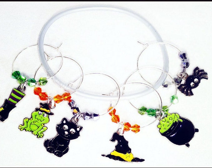 Halloween Wine Charms - All Things Witches Enamel Set, 6 pack