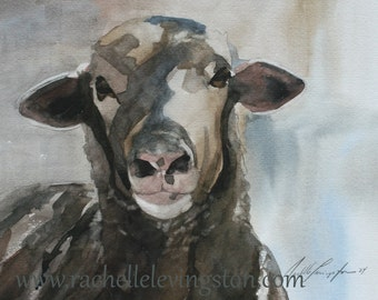 watercolor ORIGINAL painting of sheep painting original sheep painting watercolour original animal painting 8x10 lamb white black brown