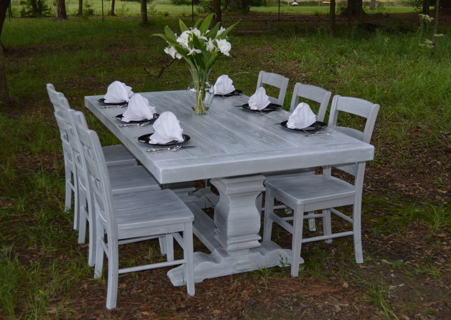 Harvest Table Dining Table Farmhouse Table Weathered Grey