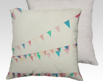 Circus -  Pillow Cover -  Apartment, Dorm, Home, Decor, Nursery, Photography, White, Pennant, Whimsical, Pastel, Pink, Unisex, Cottage, Chic