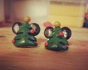 Mickey Mouse Christmas tree earrings
