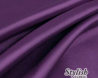 "60"" Plum Charmeuse Satin Fabric by the Yard, Charmeuse Fabrics, Charmeuse Satin, Bridal Wedding Satin Fabric- 1 Yard Style 2800"