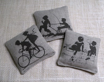 Lavender sachets, vintage children playing, set of 3