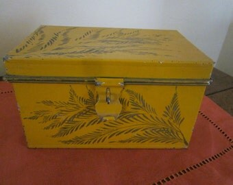 Antique tole decorated deed box, painted in Paris in 1800's