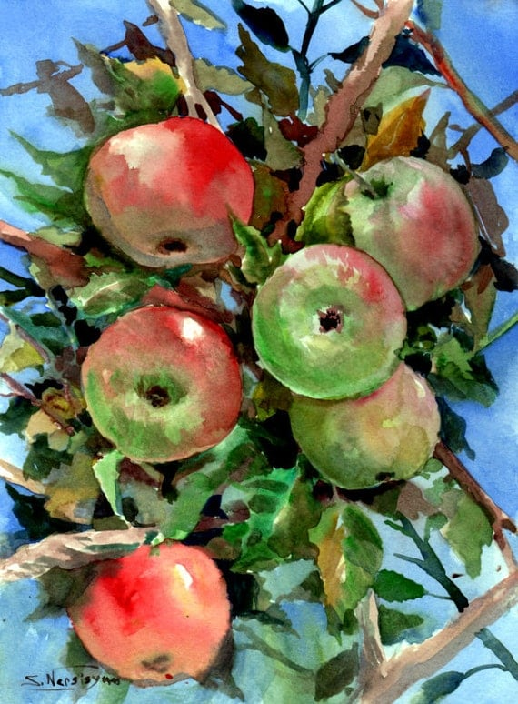 Green Red Apples on Tree original watercolor by ORIGINALONLY