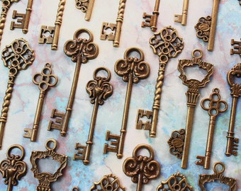30 Skeleton Key Collection antiqued bronze vintage style wholesale wedding decorations