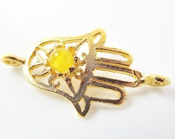 Hamsa Hand of Fatima Connector with Yellow Jade Stone - 22K Matte Gold Plated