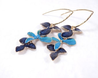 Xmas Ideas, Blue Dangle Earrings, Gold Drop Earrings for Women, Dark Blue Earrings, Flower Earrings, Nature Jewelry, Buy Christmas Gifts