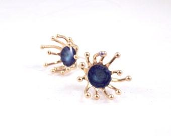 blue gold studs dark blue post earrings for women minimalist jewelry enamel posts everyday jewelry art jewelry statement earrings