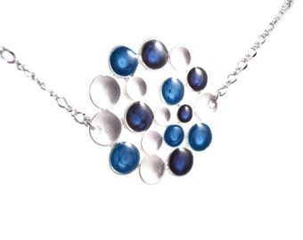 Blue Silver Necklace, Bubble Jewelry, Xmas Gifts for Her, Statement Pendant, Royal Blue Necklace, Ocean Blue Pendant, Great Christmas Gift