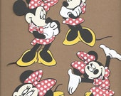 4- 5.5 inch Red and White Polka Dot Minnie Mouses Cricut Die Cuts