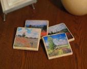 Poppy Fields by Claude Monet, Marble Coasters - Set of 4
