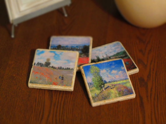 Poppy Fields by Claude Monet, Marble Coasters - Set of 4