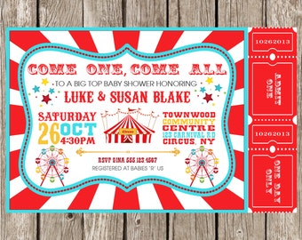 Vintage Circus Carnival Invitation - Baby Shower - Birthday Party - DIY Printable