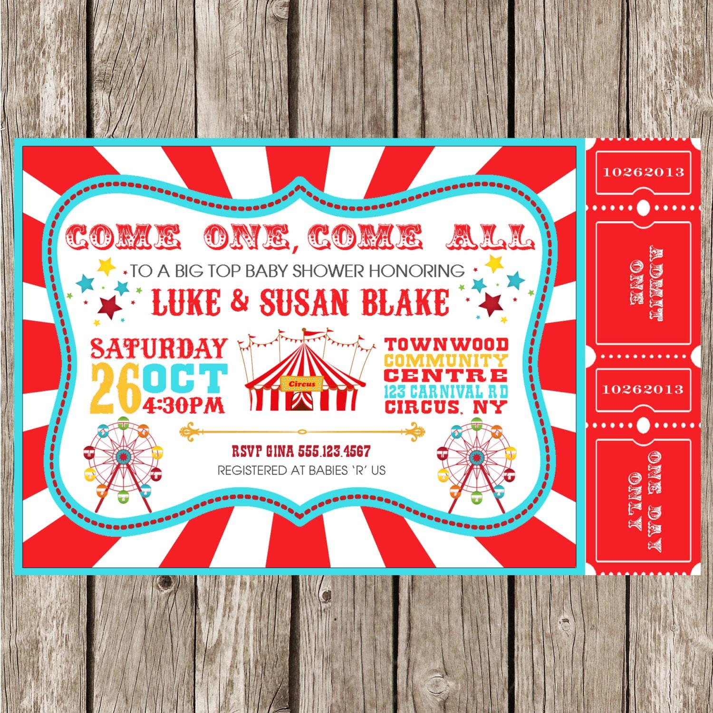 Vintage Circus Carnival Invitation Baby Shower Birthday