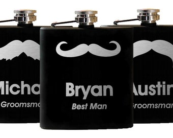 Flasks for Groomsmen, Personalized Flask, Engraved Flask, Custom Flask, Groomsmen Gift - Set of 8