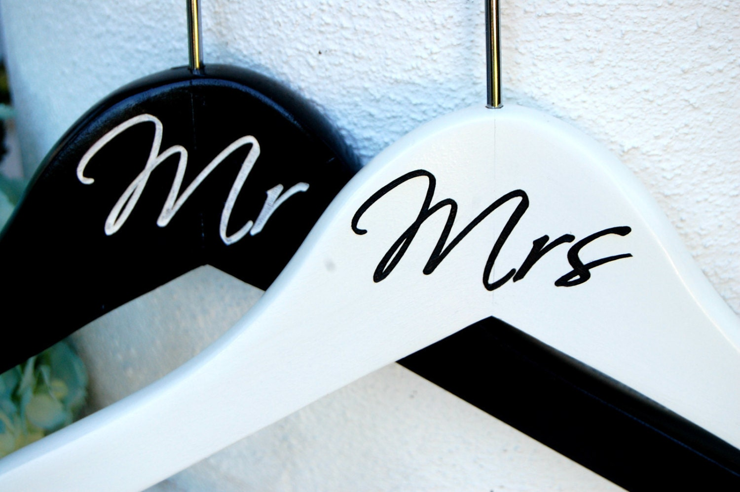 Engagement Gift Bride Groom Gift Set Of 2 Mr And Mrs Hangers Personalized Hanger Wedding