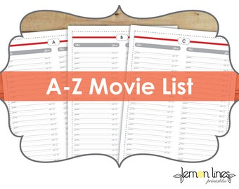 Movie List Printable Pack - 26 Pages - INSTANT DOWNLOAD