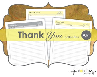 Thank You Note Printable Collection - INSTANT DOWNLOAD