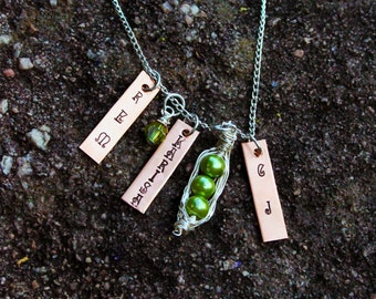 Personalized Family Charm Necklace - Peas in a Pod Necklace -Christmas Gifts - Personalized Handstamped Jewelry