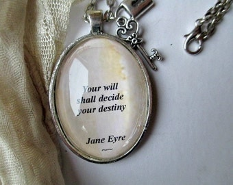Jane Eyre necklace, Charlotte Bronte quote necklace