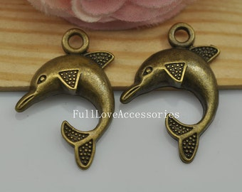 10pcs Antique Brass Dolphin Charms Pendant 22x32mm Antique Bronze Dolphin Charms Connector
