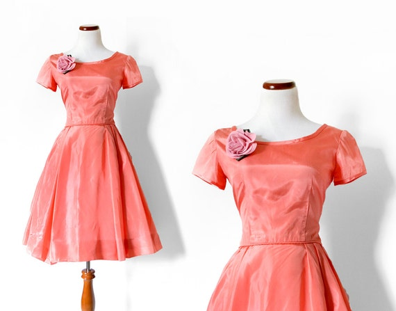 1960s Party Dress / 60s Pink Dress /  Coral Dress /  Vintage Clothing /  Vintage Dress / Women Clothing Day Dress