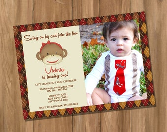 Sock Monkey Inspired Birthday Party Invitation with Photo (Digital - DIY)