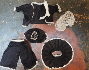 Vintage Toddler Doll Clothes Black Silky Nighttime Pajama Set