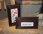 2 Solid cedar wood 4x10 picture photo craft frames dark finish country rustic panoramic display