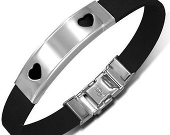 Personalized Stainless Steel with Black Rubber Love Heart Bracelet