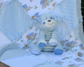 Baby Rag Quilt - Blue and White with Cute Animal Friends