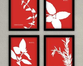 Herb Art - Kitchen Prints - Set of 4 - 8x10s - Basil, Parsley, Dill, Rosemary, Cilantro, Mint, Oregano
