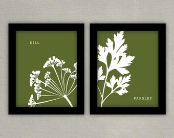 Kitchen Print Herb Illustration Art - Set of 2 8x10s - Basil, Parsley, Dill, Rosemary, Cilantro, Mint, Oregano