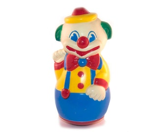 Vintage Colorful plastic Clown Balancing Toy / Wobble Toy / Roly Poly Toy Made in France. ( Retro, Kids, Gift