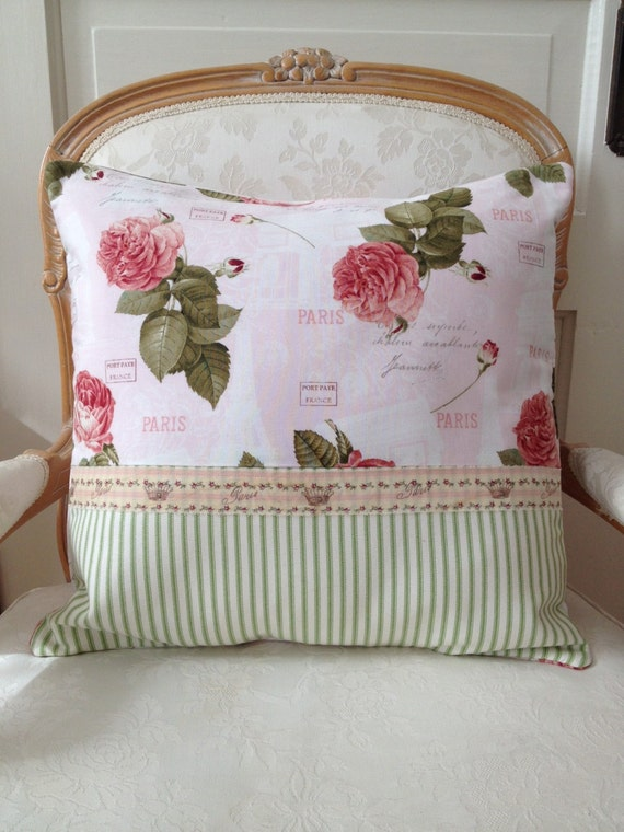 RESERVED FOR MARIAN Shabby Chic Pillow Cover Cabbage Rose