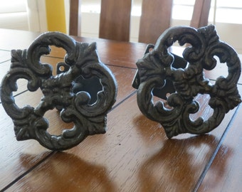Curtain Tiebacks / Cast Iron Curtain Tie Backs / Drapery Tie Backs / Oil Rubbed Bronze or Pick Color / Cottage Shabby Chic Country Style