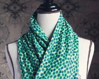 "Liberty of London Jersey ""Infinity"" Scarf in Xanthe Sunbeam in Green"