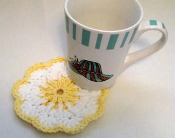 Crochet Coasters,  Flower Coasters, Kitchen Decor, Mug Mats, Drink Coasters, Round Coasters, Mug Rug, Handmade Coaster