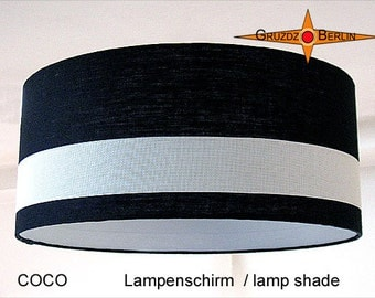 Lamp shade black white COCO Ø50 cm linen lampshade black white
