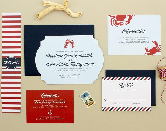 Nautical Wedding Invitation, Seaside Wedding, New England Lobster Wedding Invite, Die Cut Invitations | DEPOSIT | Maritime
